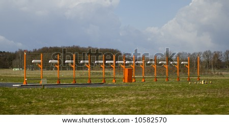 Instrument Landing System in Hannover airport - stock photo