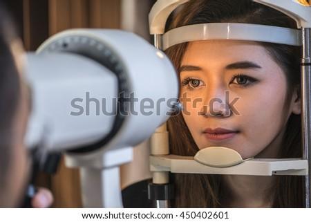 Instrument to examine eye sight. - stock photo