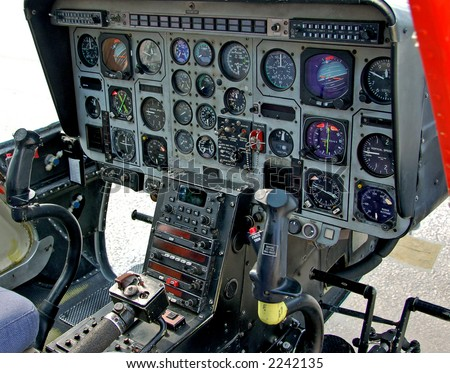 Instrumentation in helicopter cockpit - stock photo