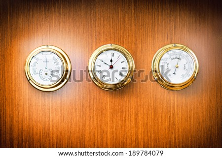 Instruments, detail from interior of  a sailing boat - stock photo
