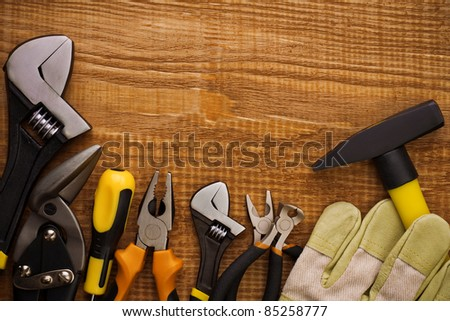 instruments on board with copyspace - stock photo