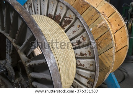 insulation for electrical coils on an industrial reel - stock photo