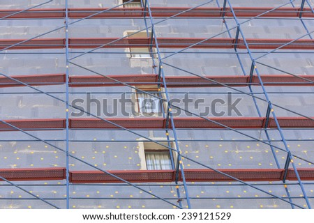 Insulation for thermal protection to the shell of the house. Energy saving concept. - stock photo