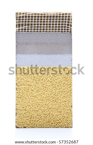 Insulation meterial cross section on isolated white backgound - stock photo