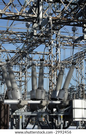 Insulators and metallic constructions of a high voltage electricity plant.