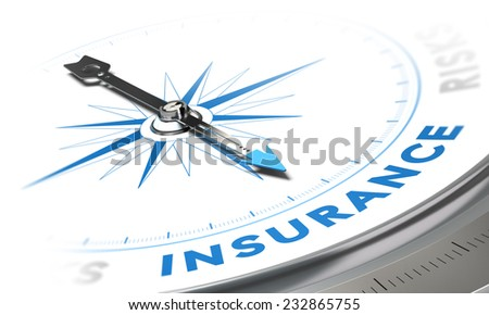 Insurance background concept. Compass needle pointing a blue word, decorative image suitable for left bottom angle of a page. - stock photo