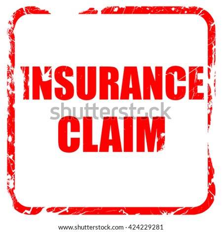 insurance claim, red rubber stamp with grunge edges - stock photo