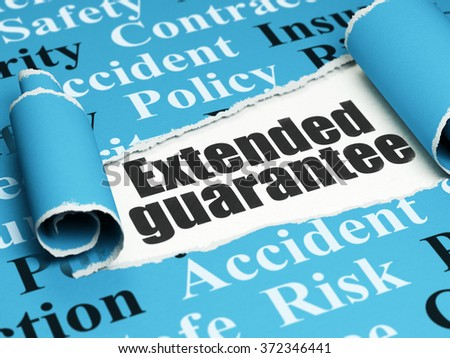 Insurance concept: black text Extended Guarantee under the piece of  torn paper - stock photo