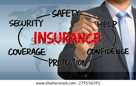 insurance concept circle diagram hand drawn by businessman - stock photo