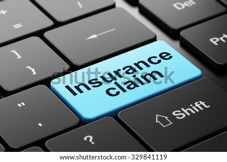 Insurance concept: computer keyboard with word Insurance Claim, selected focus on enter button background, 3d render