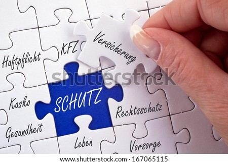 Insurance Concept - German Language - stock photo