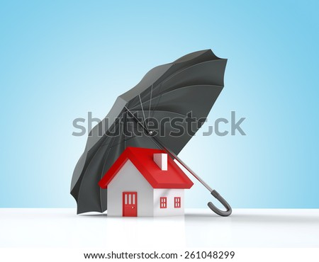 Insurance Concept , Home is protected by a black umbrella - stock photo