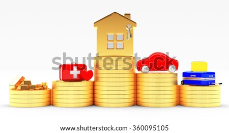 Insurance concept. House, car, savings, medical and travel suitcases on stacks of coins isolated on white background    - stock photo
