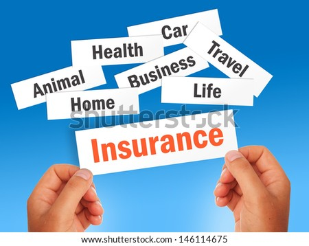 Insurance concept over blue background. - stock photo