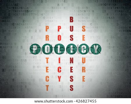 Insurance concept: Painted green word Policy in solving Crossword Puzzle on Digital Data Paper background - stock photo