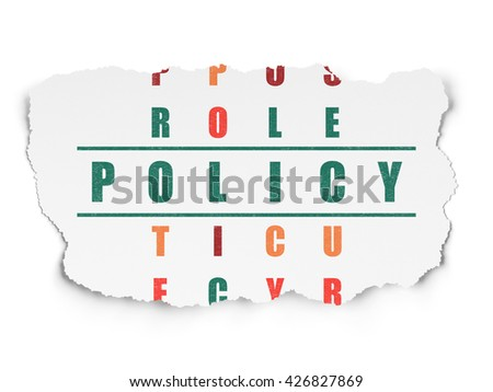 Insurance concept: Painted green word Policy in solving Crossword Puzzle on Torn Paper background - stock photo