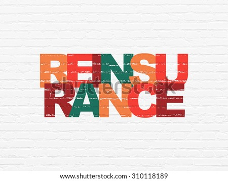 Insurance concept: Painted multicolor text Reinsurance on White Brick wall background - stock photo