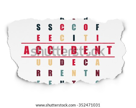 Insurance concept: Painted red word Accident in solving Crossword Puzzle on Torn Paper background - stock photo