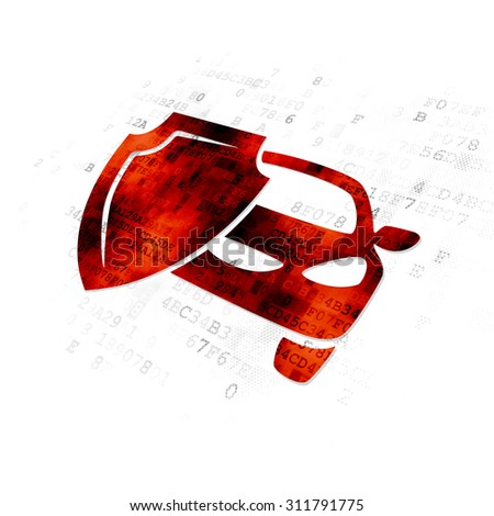 Insurance concept: Pixelated red Car Insurance icon on Digital background - stock photo