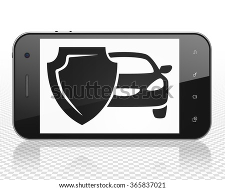 Insurance concept: Smartphone with Car And Shield on display - stock photo