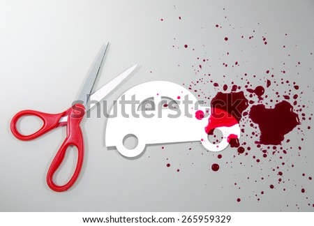 insurance concept with car accident - stock photo