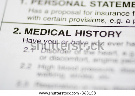 Insurance form about medical history