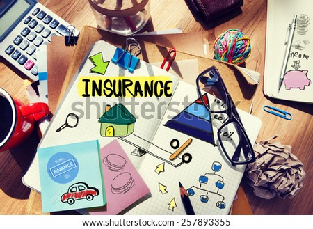 Insurance Guarantee Life Risk Protection Safety Security Concept - stock photo