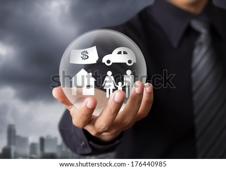 insurance in crystal ball, Life insurance concept - stock photo