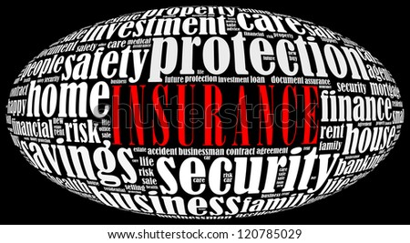 Insurance info-text graphics arrangement on black background - stock photo