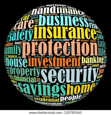 Insurance info-text graphics arrangement on black background - stock photo