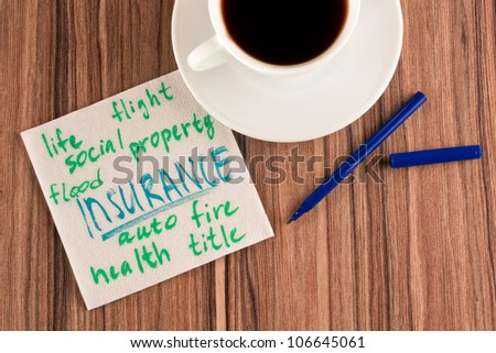 Insurance on a napkin and cup of coffee - stock photo