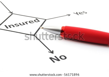 insurance or risk concept with flowchart and pen - stock photo