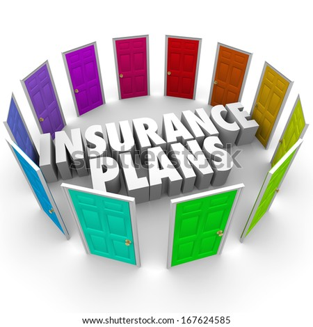 Insurance Plans Many Doors Choose Best Policy Coverage - stock photo