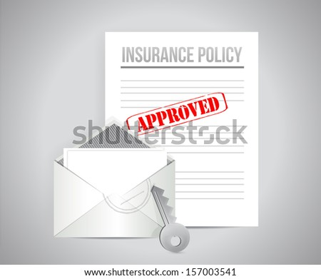 insurance policy approved concept illustration design background - stock photo