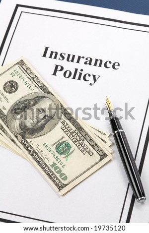 Insurance Policy, Life; Health, car, travel,  for background - stock photo