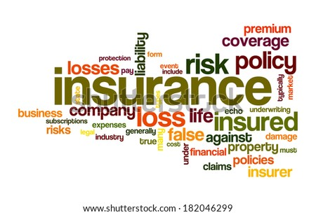 insurance word cloud conceptual image - stock photo