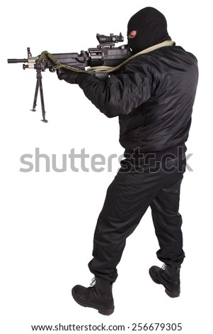 insurgent in black uniform and mask with machine gun isolated - stock photo