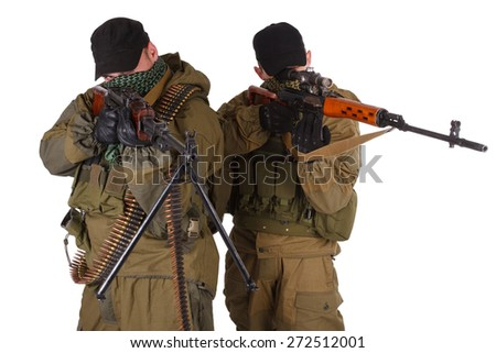 insurgent sniper pair with SVD rifle and RPD machine gun isolated on white background - stock photo