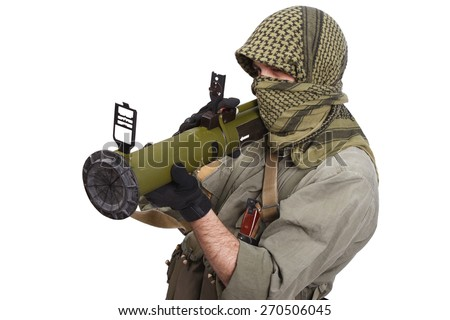 insurgent wearing keffiyeh  with anti-tank rocket launcher isolated on white