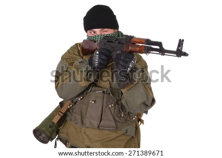 insurgent wearing shemagh with kalashnikov rifle isolated on white background