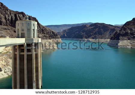 Intake tower at Hoover Dam in Nevada - stock photo