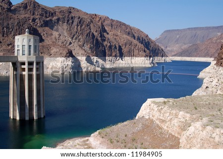 Intake tower & Lake Mead Reservoir just behind Hoover Dam; Hoover Dam; Colorado River, Nevada & Arizona - stock photo