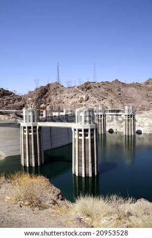 Intake Towers of Hoover Dam on the border of Arizona and Nevada. - stock photo