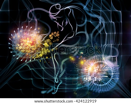 Integers Of Us series. Design composed of human lines, numbers and arrows as a metaphor on the subject of human condition, math and reality - stock photo