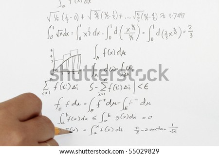 Integral calculus and higher mathematics with equations. - stock photo