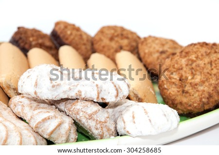 Integral serving cookies on a plate. - stock photo