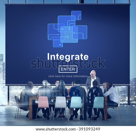 Integrate Circuit Links Merge Concept - stock photo