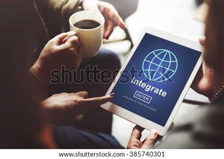 Integrate Combine Merge Online Web Concept - stock photo