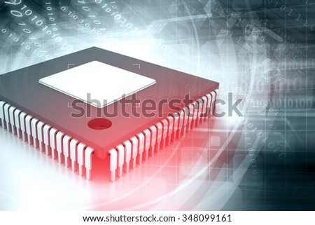 Integrated Circuit on binary background, IC chip - stock photo