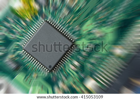 Integrated circuit on pcb with zoom in effect